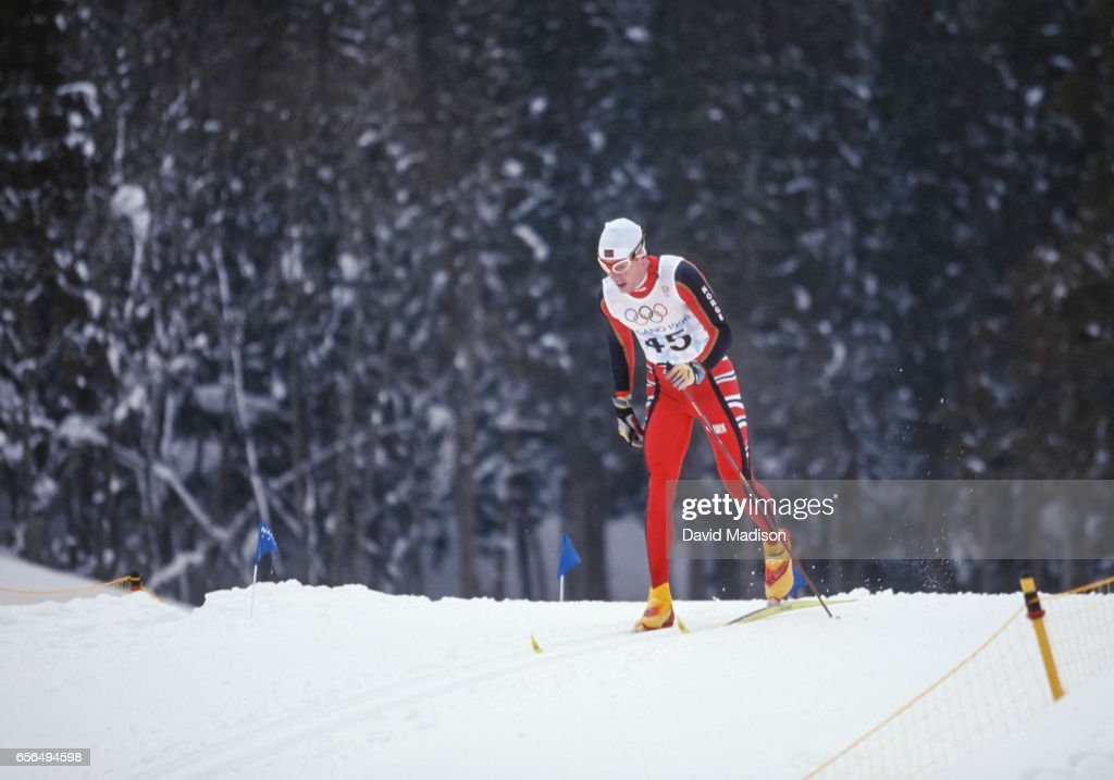 Bjoern Daehlie #45 of Norway skis in the Men's 10 Kilometer Classical event of the Nordic Skiing competition at the 1998 Winter Olympics held on February 12, 1998 at the Snow Harp venue in Hakuba near Nagano, Japan. Daehlie was the gold medalist in the event.