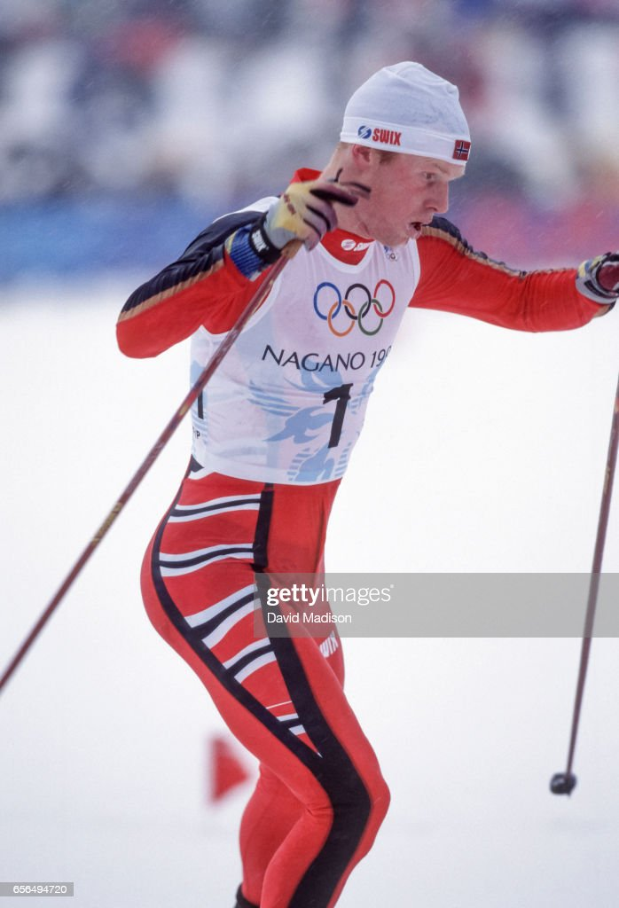 Bjoern Daehlie #1 of Norway skis in the Men's 15 Kilometer Free Pursuit event of the Nordic Skiing competition at the 1998 Winter Olympics held on February 14, 1998 at the Snow Harp venue in Hakuba near Nagano, Japan. Daehlie was the silver medalist in the event.