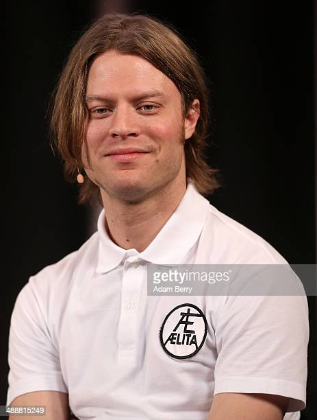 Bjoern Dixgard of Swedish group Mando Diao speaks at the Apple Store on May 8 2014 in Berlin Germany