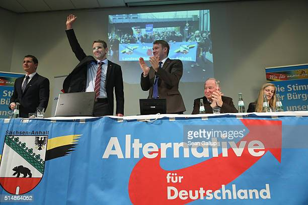 Bjoern Hocke head of the Alternative fuer Deutschland political party in the state of Thuringia waves after he spoke at the concluding AfD election...