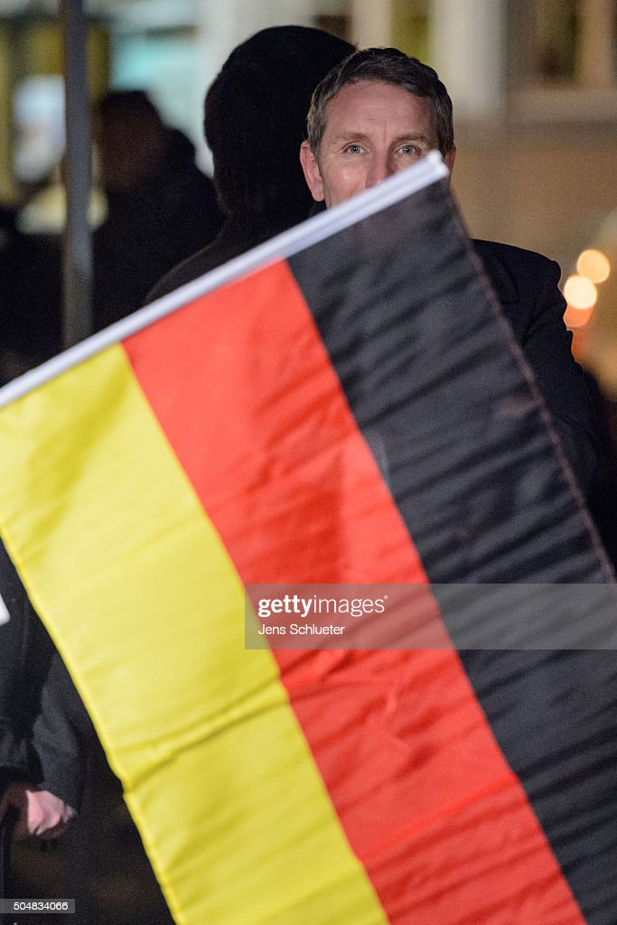 Bjoern Hoecke, head of the AfD (Alternative fuer Deutschland, or Alternative for Germany) in Thuringia, is seen before he speaks to supporters at the first AfD Thuringia rally since the Cologne sex attacks on January 13, 2016 in Erfurt, Germany. Hoecke, who is on the far-right wing of the AfD, is demanding an immediate closure of Germany's borders to refugees and the expulsion of foreigners with criminal records. Over 500 women have filed charges including molestation, in some cases robbery and even rape following the gathering of hundreds of North African men, many of them were from Morocco and Algeria, at Cologne's Hauptbahnhof main railway station on New Year's Eve. The incident has caused heated discussion in Germany over the government's open-door policy for refugees. In 2015 Germany registered 1.1 million new migrants and refugees.