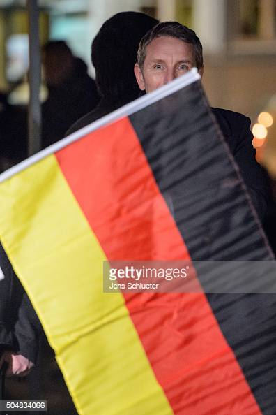Bjoern Hoecke head of the AfD in Thuringia is seen before he speaks to supporters at the first AfD Thuringia rally since the Cologne sex attacks on...