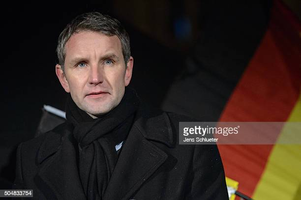 Bjoern Hoecke head of the AfD in Thuringia speaks to supporters at the first AfD Thuringia rally since the Cologne sex attacks on January 13 2016 in...