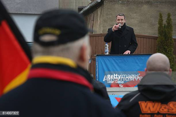 Bjoern Hoecke head of the Alternative fuer Deutschland political party in Thuringia speaks to supporters during an election rally in the state of...