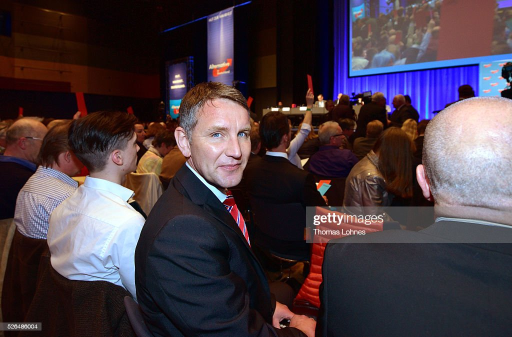 Bjoern Hoecke (C), head of the Alternative fuer Deutschland political party (Alternative for Germany, AfD) in Thuringia pictured at the party's federal congress on April 30, 2016 in Stuttgart, Germany. The AfD, a relative newcomer to the German political landscape, has emerged from Euro-sceptic conservatism towards a more right-wing leaning appeal based in large part on opposition to Germany's generous refugees and migrants policy. Since winning seats in March elections in three German state parliaments the party has sharpened its tone, calling for a ban on minarets and claiming that Islam does not belong in Germany.