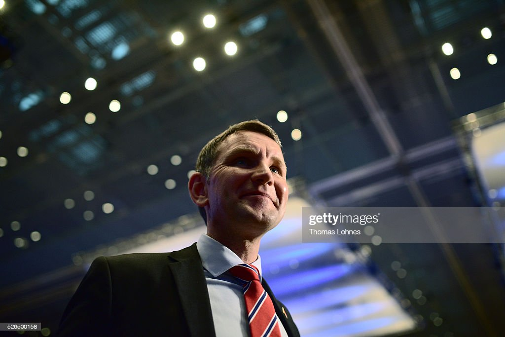 Bjoern Hoecke, head of the Alternative fuer Deutschland political party (Alternative for Germany, AfD) in Thuringia pictured at the party's federal congress on April 30, 2016 in Stuttgart, Germany. The AfD, a relative newcomer to the German political landscape, has emerged from Euro-sceptic conservatism towards a more right-wing leaning appeal based in large part on opposition to Germany's generous refugees and migrants policy. Since winning seats in March elections in three German state parliaments the party has sharpened its tone, calling for a ban on minarets and claiming that Islam does not belong in Germany.