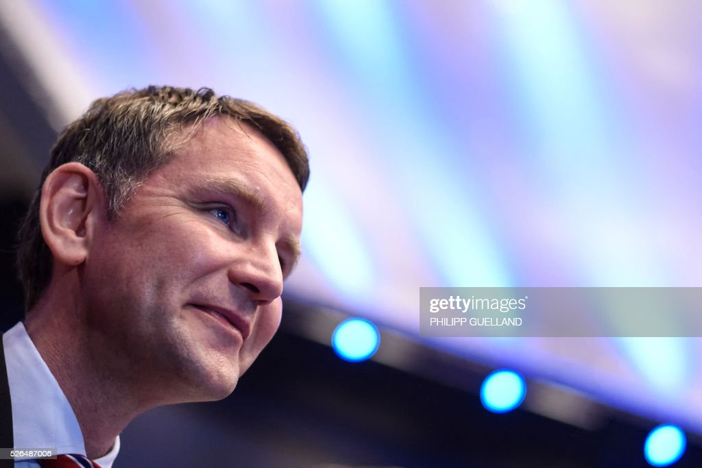 Bjoern Hoecke, parliamentary party leader of the AFD in Thuringia, attends a party congress of the German right wing party AfD (Alternative fuer Deutschland) at the Stuttgart Congress Centre ICS on April 30, 2016 in Stuttgart, southern Germany. The Alternative for Germany (AfD) party is meeting in the western city of Stuttgart, where it is expected to adopt an anti-Islamic manifesto, emboldened by the rise of European anti-migrant groups like Austria's Freedom Party. / AFP / Philipp GUELLAND