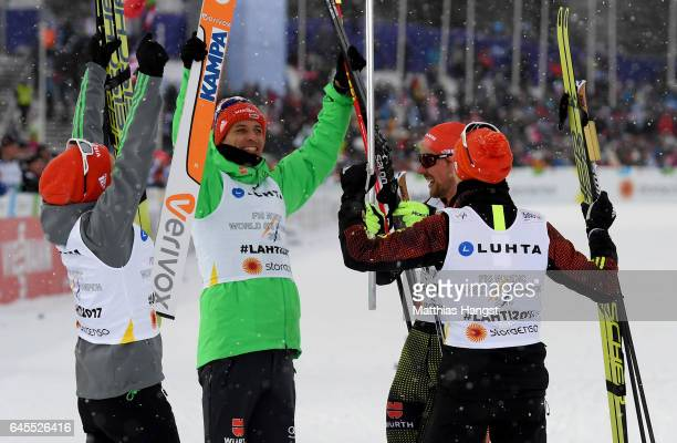 Bjoern Kircheisen of Germany celebrate with his team mates the gold medal in the Men's Nordic Combined Team HS 100 4 x 50km CrossCountry Sprint...