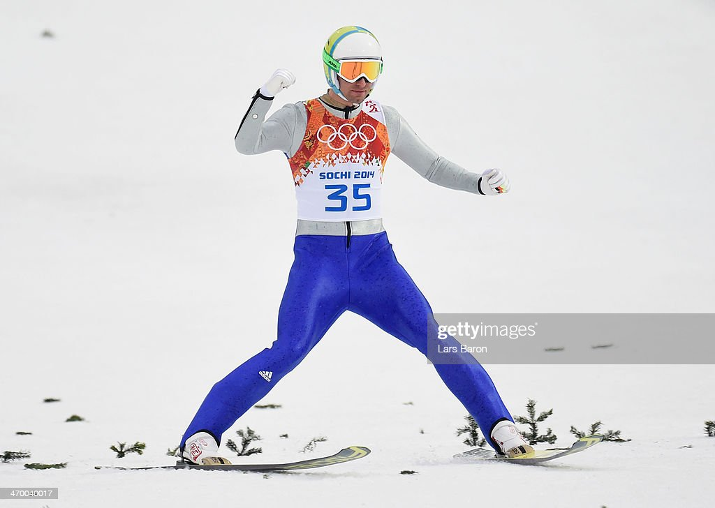 Bjoern Kircheisen of Germany celebrates in the Nordic Combined Men's Individual LH during day 11 of the Sochi 2014 Winter Olympics at RusSki Gorki Jumping Center on February 18, 2014 in Sochi, Russia.