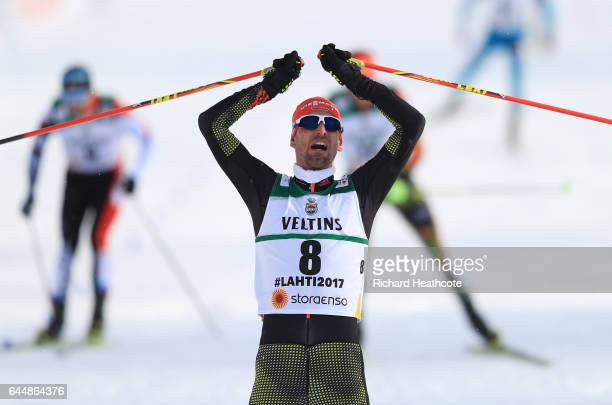 Bjoern Kircheisen of Germany celebrates winning the bronze medal in the Men's Nordic Combined 10KM Cross Country during the FIS Nordic World Ski...