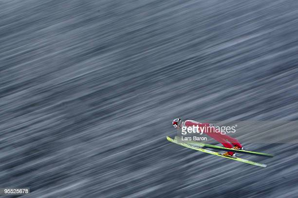 Bjoern Kircheisen of Germany competes during the Ski Jumping event of the FIS Nordic Combined World Cup at the HansRennerSchanze on January 2 2010 in...