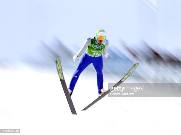 Bjoern Kircheisen of Germany competes in the Nordic Combined Team Large Hill on day 13 of the Sochi 2014 Winter Olympics at RusSki Gorki Jumping...