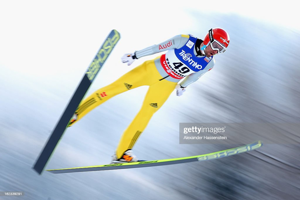 <a gi-track='captionPersonalityLinkClicked' href=/galleries/search?phrase=Bjoern+Kircheisen&family=editorial&specificpeople=726172 ng-click='$event.stopPropagation()'>Bjoern Kircheisen</a> of Germany in action during the Men's Nordic Combined HS106 on February 22, 2013 in Val di Fiemme, Italy.