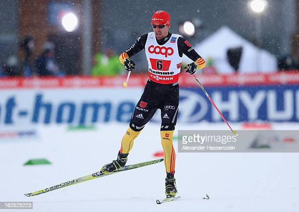 Bjoern Kircheisen of Germany in action during the Nordic Combined Team 4x5km at the FIS Nordic World Ski Championships on February 24 2013 in Val di...