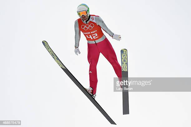 Bjoern Kircheisen of Germany jumps during the Men's Individual Gundersen Normal Hill/10 km Nordic Combined training on day 4 of the Sochi 2014 Winter...