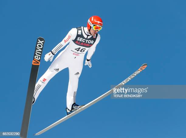 Bjoern Kircheisen of Germany jumps during the Nordic Combined Individual Gundersen LH / 10km event of the FIS Nordic Combined World Cup at the...
