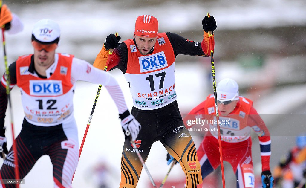 Bjoern Kircheisen (C) of Germany, Lukas Klapfer (L) of Austria and Magnus Krog (R) of Norway competes in the cross country of the FIS Nordic Combined World Cup Men's Nordic Combined HS 106/10km on December 21, 2013 in Schonach, Germany.