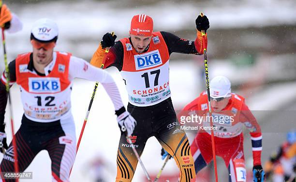 Bjoern Kircheisen of Germany Lukas Klapfer of Austria and Magnus Krog of Norway competes in the cross country of the FIS Nordic Combined World Cup...