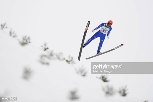 Bjoern Kircheisen of Germany makes a practice jump prior to the Men's Nordic Combined HS130 during the FIS Nordic World Ski Championships on March 1...