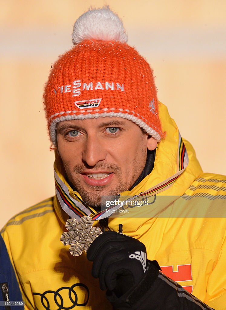 Bjoern Kircheisen of Germany poses with his Bronze medal at the medal ceremony for the Men's Nordic Combined 106+10km at the FIS Nordic World Ski Championships on February 23, 2013 in Val di Fiemme, Italy.