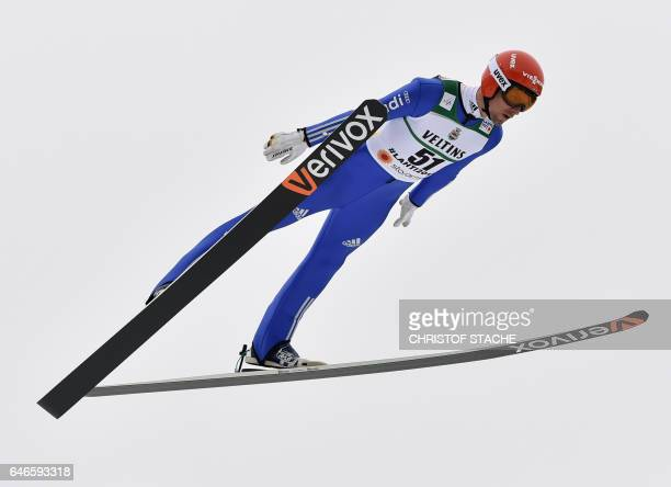 Bjoern Kircheisen of Germany soars during the Nordic Combined individual Gundersen jumping competition of the 2017 FIS Nordic World Ski Championships...