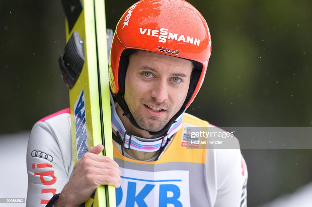 Bjoern Kircheisen of Germany walks after his jump during Day One of the FIS Nordic Combined World Cup HS 106 Team Competition on January 3, 2015 in Schonach, Germany.
