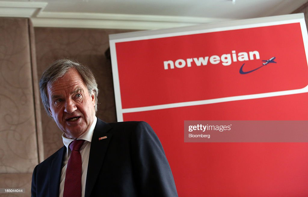 Bjoern Kjos, chief executive officer of Norwegian Air Shuttle AS, speaks during a news conference in London, U.K., on Thursday, Oct. 17, 2013. Norwegian Air Shuttle AS will offer flights from London's Gatwick airport to New York, Los Angeles and Fort Lauderdale as it expands a network of discounted long-haul routes using its new fleet of Boeing Co. 787 jetliners. Photographer: Chris Ratcliffe/Bloomberg via Getty Images