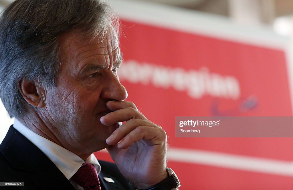 Bjoern Kjos, chief executive officer of Norwegian Air Shuttle AS, pauses during a news conference in London, U.K., on Thursday, Oct. 17, 2013. Norwegian Air Shuttle AS will offer flights from London's Gatwick airport to New York, Los Angeles and Fort Lauderdale as it expands a network of discounted long-haul routes using its new fleet of Boeing Co. 787 jetliners. Photographer: Chris Ratcliffe/Bloomberg via Getty Images