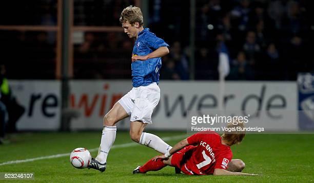 Bjoern Kopplin von Bochum in aktion mit Takahito Soma von Cottbus waehrend des 2 Bundesligaspiels zwischen VfL Bochum und Energie Cottbus im...