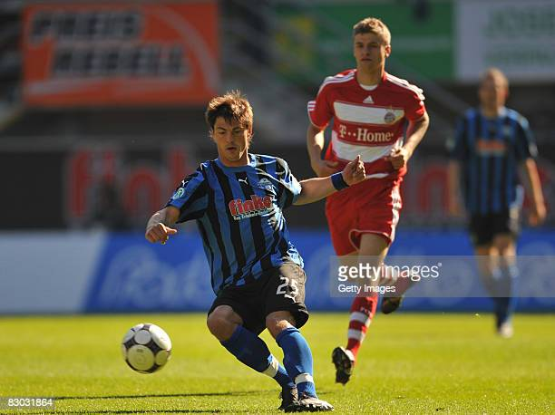 Bjoern Lindemann of Paderborn during the 3 Bundesliga match between SC Paderborn and Bayern Muenchen II at the Paragon Arena on September 27 2008 in...