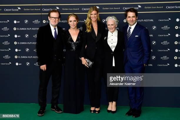 Bjoern Runge Annie Maude Starke Festival director Nadja Schildknecht Glenn Close and Festival director Karl Spoerri attend the 'The Wife' premiere at...