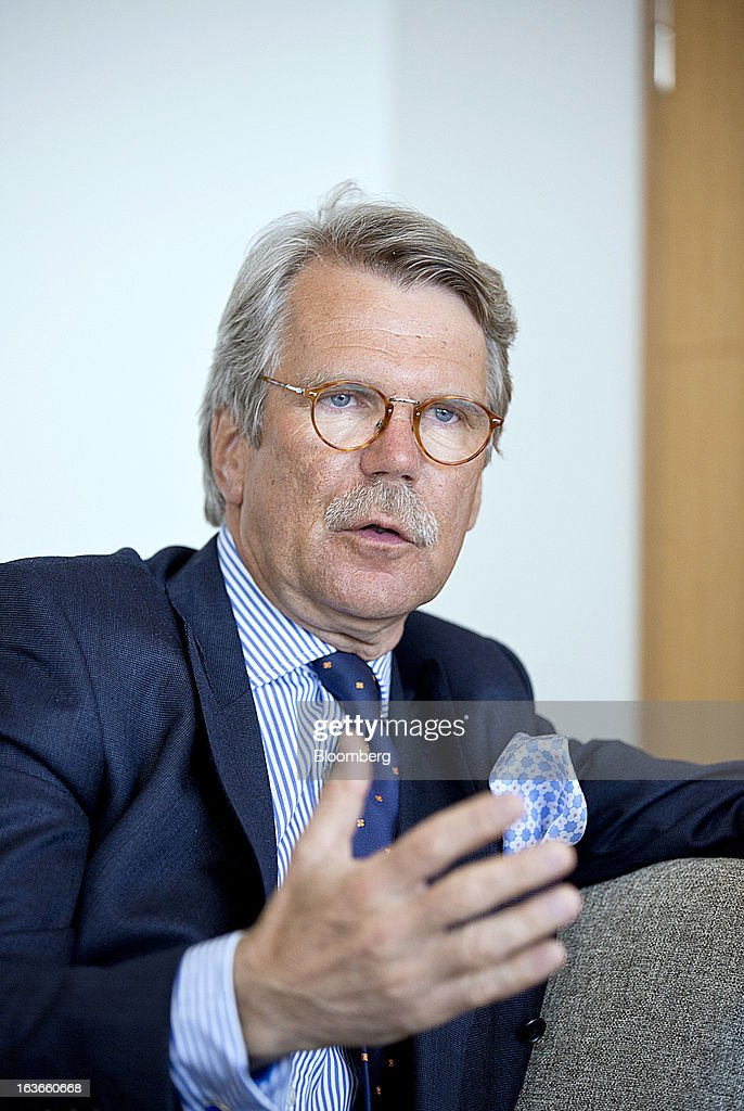 Bjoern Wahlroos, chairman of Nordea Bank AB, speaks during an interview at the company's headquarters in Stockholm, Sweden, on Wednesday, March 13, 2013. Nordea probably will generate 'significant extra capital' in coming years, he said yesterday at the bank's Stockholm headquarters. Photographer: Casper Hedberg/Bloomberg via Getty Images