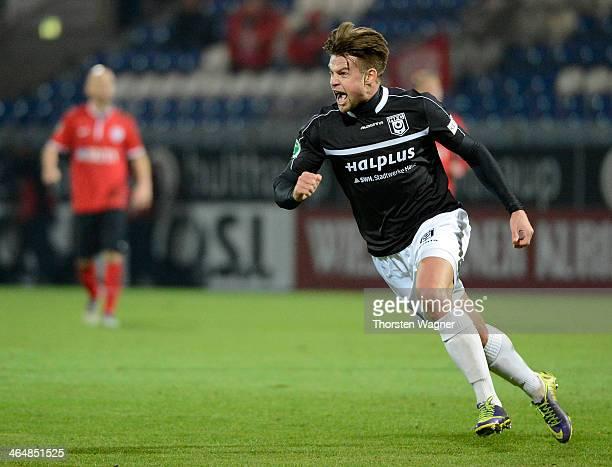 Bjoern Ziegenbein of Halle celebrates after scoring his team opening goal during the third league match betwenn SV Wehen Wiesbaden and Hallescher FC...