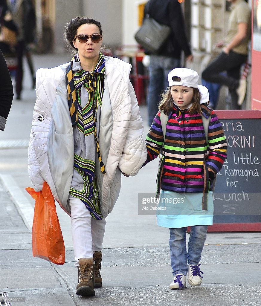 Bjork and daughter Isadora Barney are seen in soho on March 6, 2012 in New York City.