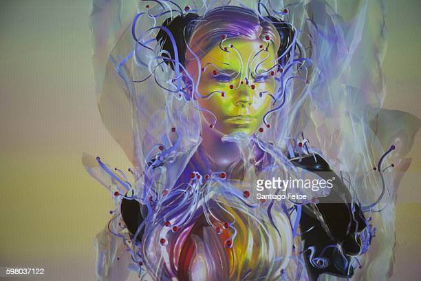 Bjork appeared via live stream as a motion capture avatar from Iceland during Bjork Digital press conference at Somerset House on August 31 2016 in...