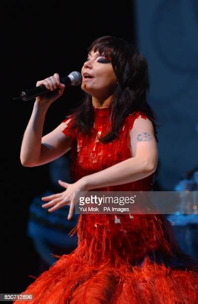 Icelandic pop singer Bjork performing on stage at the London Coliseum in London