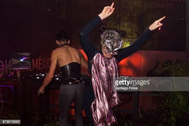 Bjork DJ's with Arca at FotoMuseo Cuatro Caminos on April 6 2017 in Mexico City Mexico