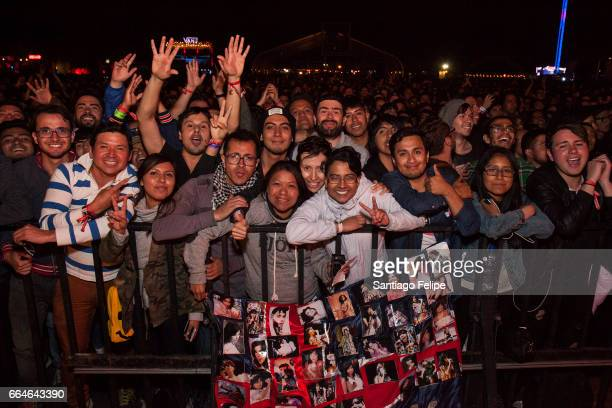 Bjork fans pose for a photo during her set at the 2017 Ceremonia Festival on April 2 2017 in Toluca Mexico