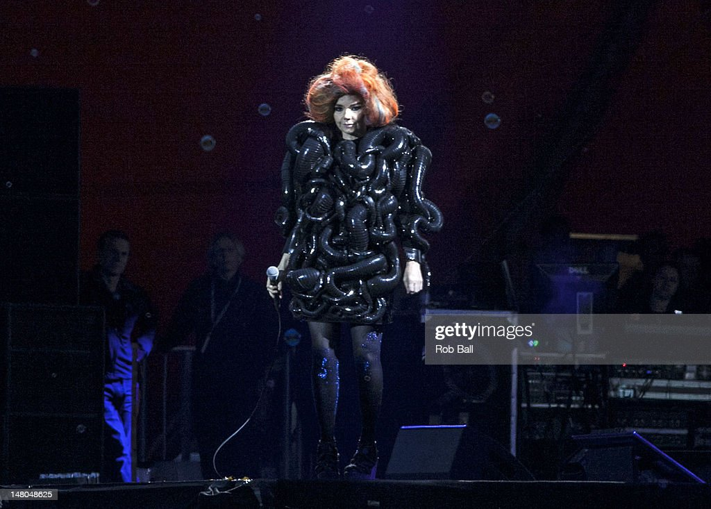 Bjork headlines the Orange Stage on day four of Roskilde Festival on July 8, 2012 in Roskilde, Denmark.
