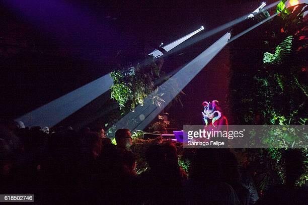 Bjork performs a DJ set during Bjork Digital Exhibition at Cirque Eloize on October 26 2016 in Montreal Canada