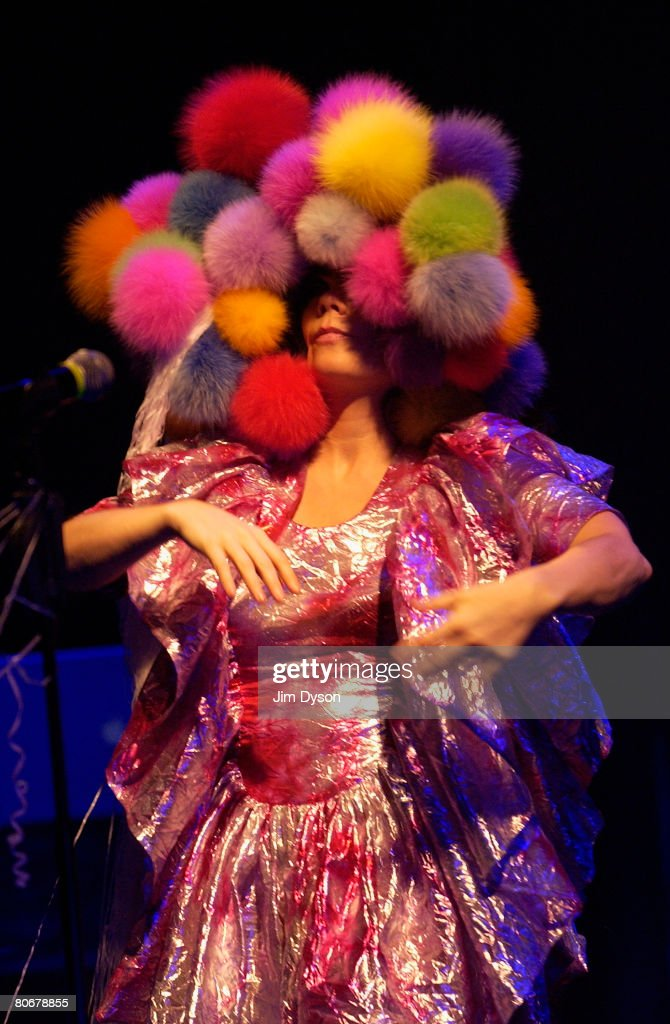 Bjork performs at Hammersmith Apollo during her Volta world tour, on April 14, 2008 in London, England.