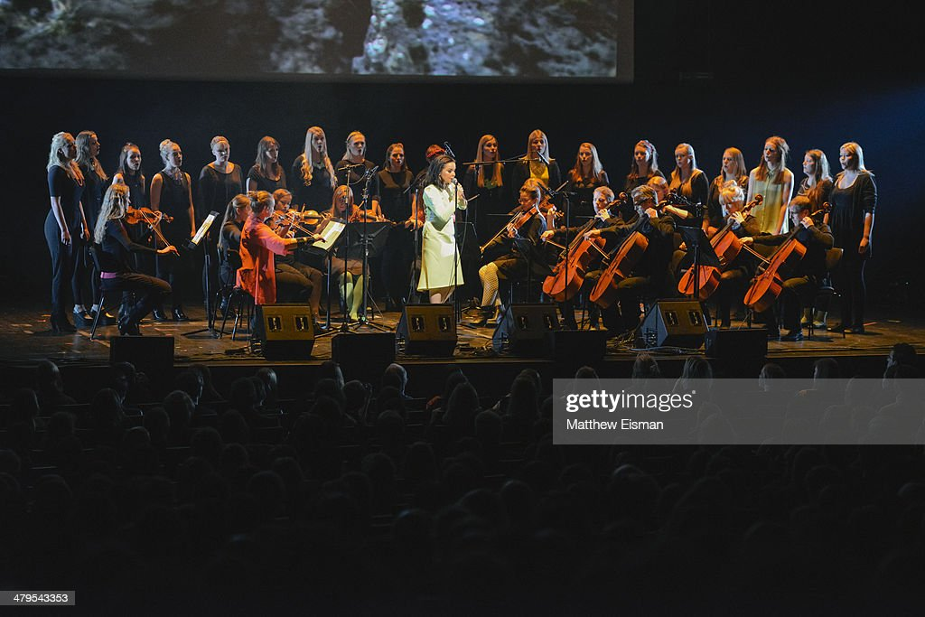 Bjork performs at the 'Stopp - Let's Protect the Park' nature benefit concert at Harpa Concert Hall on March 18, 2014 in Reykjavik, Iceland.