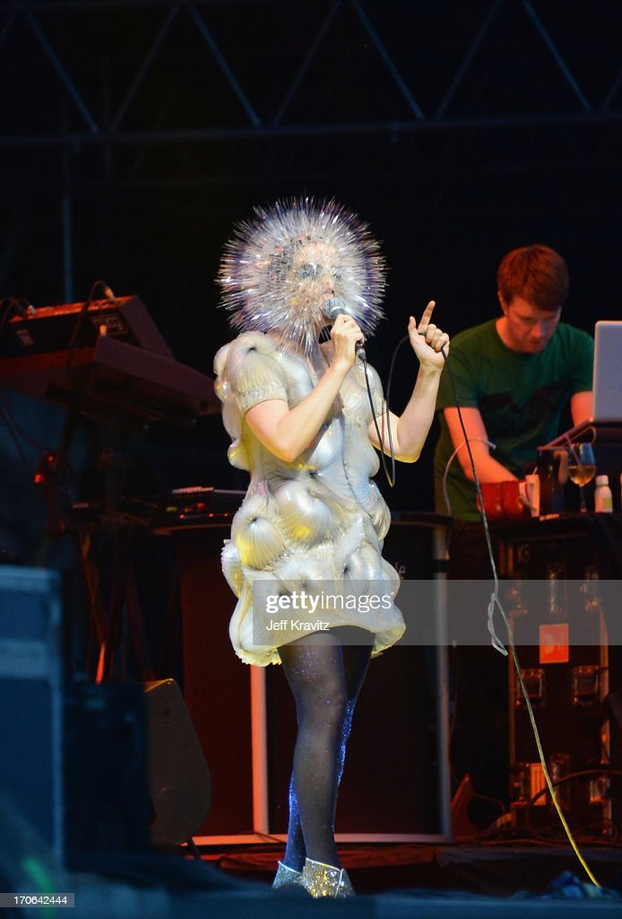 Bjork performs at What Stage during day 3 of the 2013 Bonnaroo Music & Arts Festival on June 15, 2013 in Manchester, Tennessee.