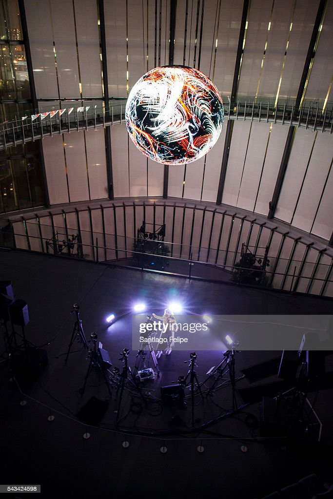 Bjork performs during the 'Making of Bjork Digital' at the National Museum of Emerging Science on June 28, 2016 in Tokyo, Japan. In the event Bjork delivered world's first 360-degree virtual reality live streaming performance for the first time in the world. The recorded performance will be exhibited at 'Bjork Digital - Music and Virtual Reality' from June 29 to July 18, 2016.