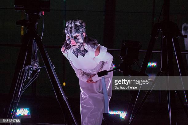 Bjork performs during the 'Making of Bjork Digital' at the National Museum of Emerging Science on June 28 2016 in Tokyo Japan In the event Bjork...
