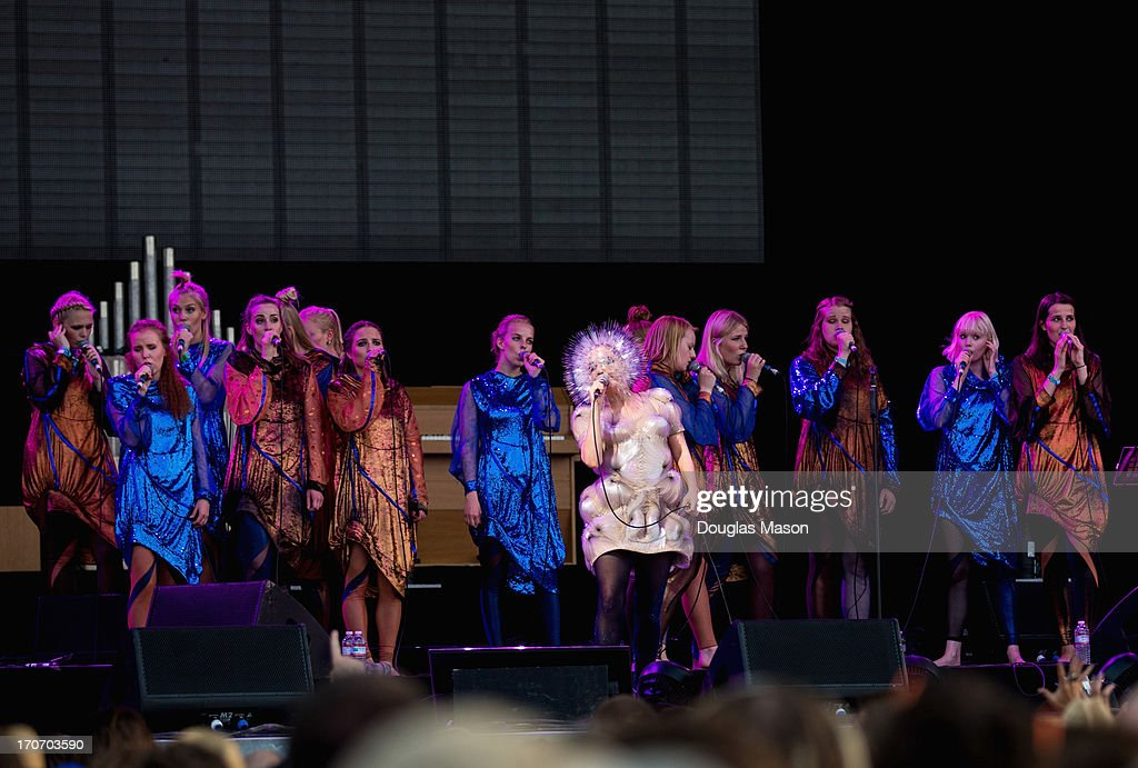 Bjork performs in costume during the 2013 Bonnaroo Music And Arts Festival on June 15, 2013 in Manchester, Tennessee.