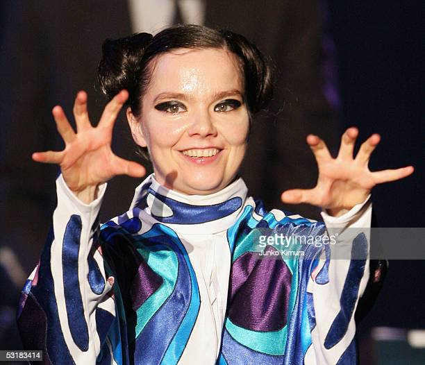 Bjork performs on stage at 'Live 8 Japan' at Makuhari Messe on July 2 2005 in Chiba east of Tokyo Japan The free concert is one of ten simultaneous...