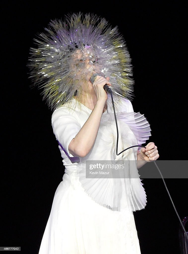 Bjork performs onstage during her 'Vulnicura' tour at Kings Theatre on March 18, 2015 in New York City.