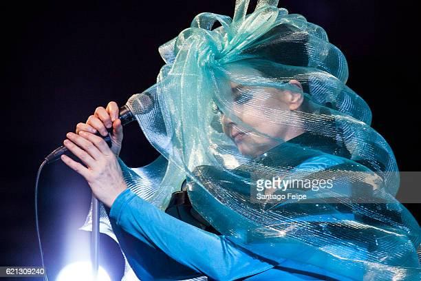 Bjork performs onstage during Iceland Airwaves Music Festival on November 5 2016 at Harpa Concert Hall in Reykjavik Iceland