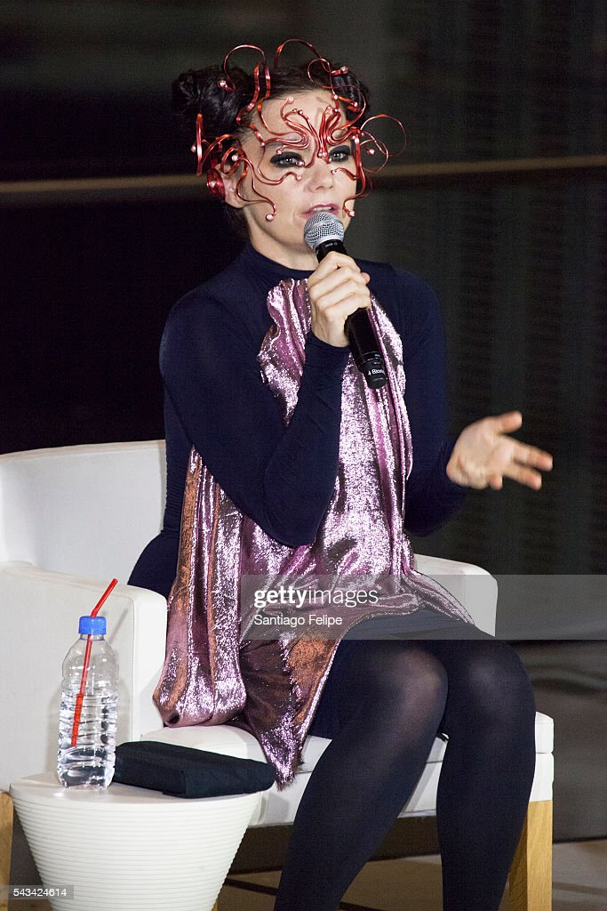 Bjork speaks during the 'Making of Bjork Digital' at the National Museum of Emerging Science on June 28, 2016 in Tokyo, Japan. In the event Bjork delivered world's first 360-degree virtual reality live streaming performance for the first time in the world. The recorded performance will be exhibited at 'Bjork Digital - Music and Virtual Reality' from June 29 to July 18, 2016.